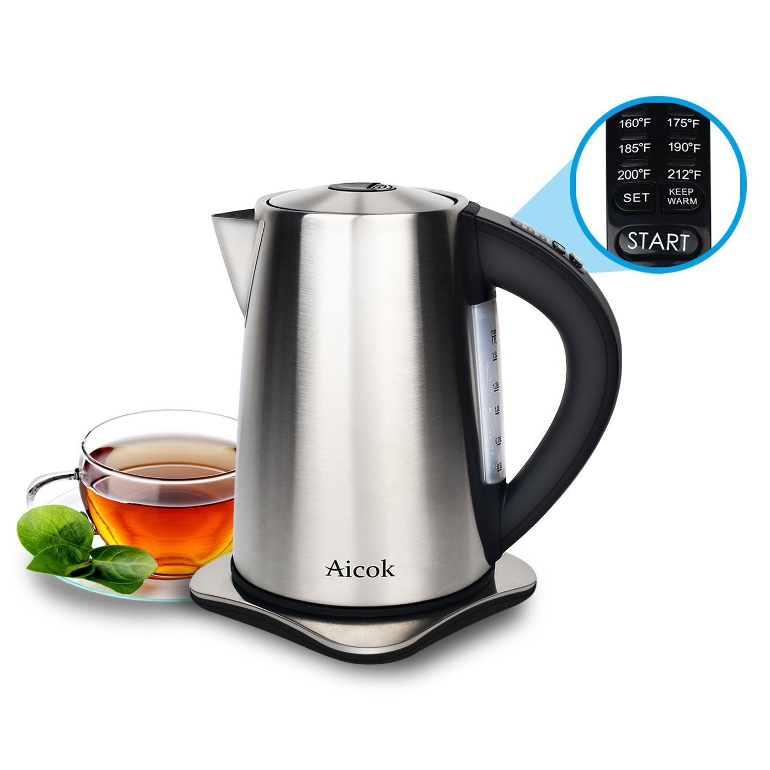 Aicok 1.7-Liter Stainless Steel Cordless Water Kettle